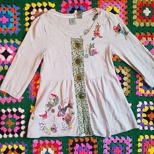 Anthropologie HWR patchwork sweater small